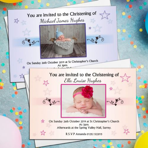 10 Personalised Girls Boys Christening Baptism Naming Day Photo Invitations Invites N14/15